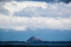 North Berwick Law as seen from the A921 near Burntisland, Fife.