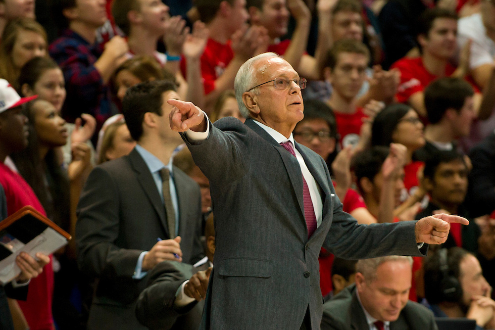 DALLAS, TX - FEBRUARY 01: SMU Mustangs head coach Larry Brown looks on against the Memphis Tigers on February 1, 2014 at Moody Coliseum in Dallas, Texas.  (Photo by Cooper Neill/Getty Images) *** Local Caption *** Larry Brown