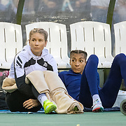 BRUSSELS, BELGIUM:  September 3:   Eleanor Patterson of Australia and  Nafissatou Thiam of Belgium relax between jumps during the high jump competition at the Wanda Diamond League 2021 Memorial Van Damme Athletics competition at King Baudouin Stadium on September 3, 2021 in  Brussels, Belgium. (Photo by Tim Clayton/Corbis via Getty Images)