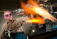 Master Scientific Glass Blower Jack Korfhage fabricates glass vessels at Albemarle's Process Development Center in Baton Rouge, Louisiana.