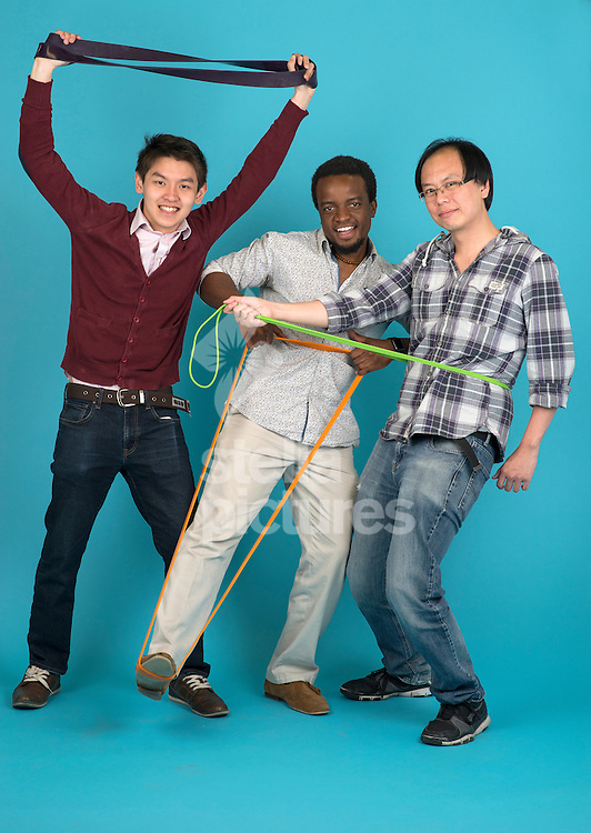 Left to right;<br /> Reeve Yew, Joseph Mambwe and Teck Loy of Elastic App at Evening Standard Studio, London<br /> Picture by Daniel Hambury/Stella Pictures Ltd +44 7813 022858<br /> 29/05/2015