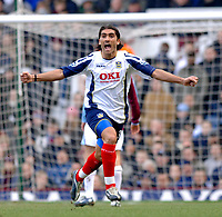 Photo: Daniel Hambury.<br />West Ham United v Portsmouth. The Barclays Premiership. 18/03/2006.<br />Portsmouth's  Pedro Mendes celebrates his goal. 0-3.