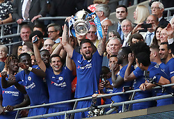 Chelsea's Olivier Giroud (centre) lifts the FA Cup trophy with his team-mates