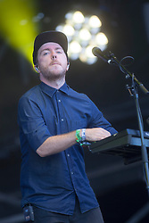 Martin Doherty of Chvrches, play on the Radio 1 stage for their third gig at T in the Park 2014.<br /> © Michael Schofield.