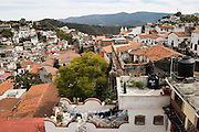 View of the rooftops of the old silver mining city of Taxco, Guerrero State, Mexico.