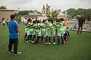 Yuwa team players get ready for the the match against Amaikak Bat team, Donostia-San Sebastian (Basque Country) July 05, 2016. Yuwa Jharkhand is a program for girls aged 5-17 to promote health, education and improved livelihoods through football. Yuwa team was in Donostia playing 25th. Donosti Cup international football tournament (Gari Garaialde/Bostok Photo)