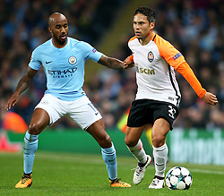 Marlos of Shakhtar Donetsk and Fabian Delph of Manchester City - Mandatory by-line: Matt McNulty/JMP - 26/09/2017 - FOOTBALL - Etihad Stadium - Manchester, England - Manchester City v Shakhtar Donetsk - UEFA Champions League Group stage - Group F