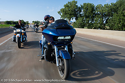 Harley Owners Group (HOG) ride out from the Full Throttle Saloon during the Sturgis Motorcycle Rally. SD, USA. Thursday, August 12, 2021. Photography ©2021 Michael Lichter.