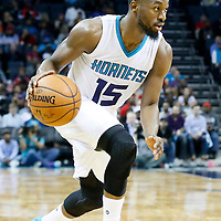 03 November 2015: Charlotte Hornets guard Kemba Walker (15) dribbles during the Charlotte Hornets  130-105 victory over the Chicago Bulls, at the Time Warner Cable Arena, in Charlotte, North Carolina, USA.
