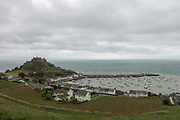 Overlooking Mont Orgueil Castle and Harbour of Gorey on 3rd September 2017 in Jersey on the Channel Islands, United Kingdom.
