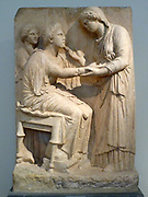 Grave Stele, Pentelic marble, found in Athens.  350-325 BC