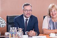 03 JUL 2019, BERLIN/GERMANY:<br /> Michael Roth (M), SPD, Staatsminister Auswaertiges Amt, und Bettina Hagedorn (R), SPD, Parl. Staatssekretaerin Bundesministerium der Finanzen, vor Beginn der Kabinettsitzung, Bundeskanzleramt<br /> IMAGE: 20190703-01-013<br /> KEYWORDS: Kabinett, Sitzung
