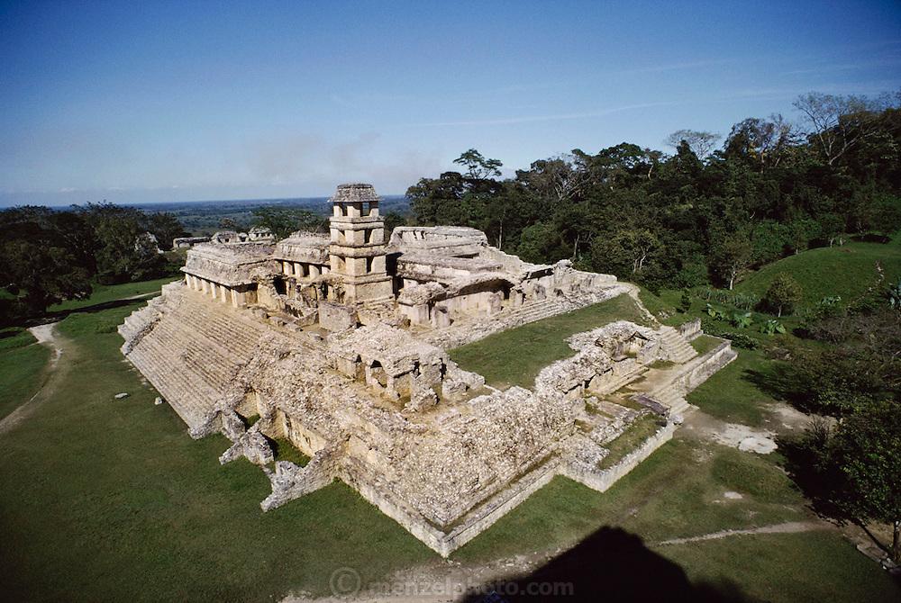 Mayan ruins called The Palace, at Palenque, Mexico.