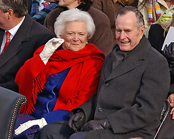 Former President George H.W. Bush and his wife, Barbara Bush, during Inauguration ceremonies on the west front of the U.S. Capitol January 20, 2005, in Washington, D.C. Photo by Douliery-Khayat/ABACA.