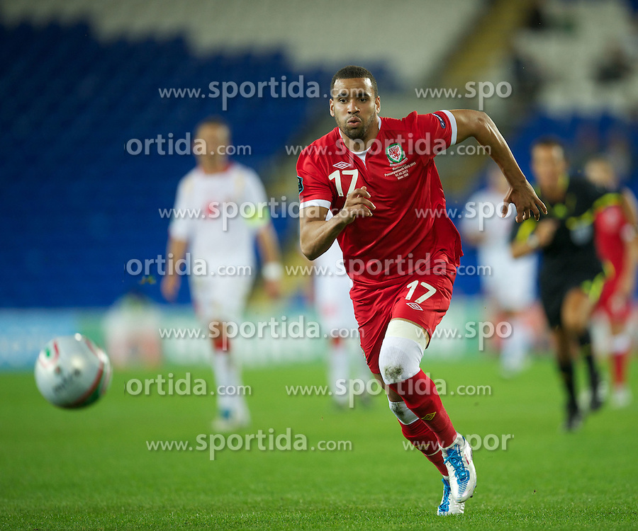 02.09.2011, Cardiff City Stadium, Cardiff, WAL, UEFA Euro 2012, Qualifier, Wales vs Montenegro, im Bild Wales' Hal Robson-Kanu in action against Montenegro during the UEFA Euro 2012 Qualifying Group G match at the  Cardiff City Stadium, EXPA Pictures © 2011, PhotoCredit: EXPA/ Propaganda/ D. Rawcliffe *** ATTENTION *** UK OUT!