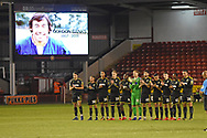 A minutes applause in memory of Gordon Banks during the EFL Sky Bet League 1 match between Walsall and AFC Wimbledon at the Banks's Stadium, Walsall, England on 12 February 2019.
