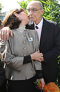 Portuguese Nobel writer Jose Saramago is kissed by his spanish wife Pilar Del Rio during a homage from saramago's home village Azinhaga (Golegã)<br /> Foto Paulo Cunha