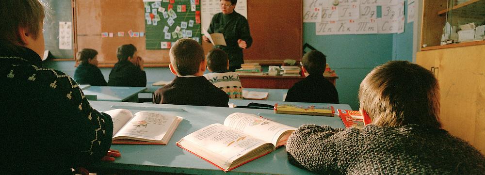 Pupils at school, Olkhon Island, Lake Baikal, Siberia, Russia