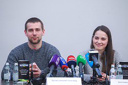 March 1, 2018 - Saint Petersburg, Russia - March 1, 2018. - Russia, Saint Petersburg. - Russian curlers Aleksander Krushelnitsky and Anastasia Bryzgalova give news conference at Yubileyny Sports Palace. The athletes have been stripped of their PyeongChang 2018 Olympics bronze medals in the mixed doubles curling event after Krushelnitsky failed a drug test. (Credit Image: © Russian Look via ZUMA Wire)