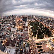 View west out over Mexico City from the 44th floor of the Torre Latinoamericana building.