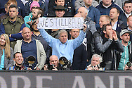 a Spurs fan holding up 'We still believe COYS' during the 2nd half . Barclays Premier league match, Tottenham Hotspur v Manchester Utd at White Hart Lane in London on Sunday 10th April 2016.<br /> pic by John Patrick Fletcher, Andrew Orchard sports photography.