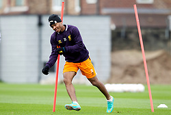 LIVERPOOL, ENGLAND - Wednesday, November 7, 2012: Liverpool's Raheem Sterling during a training session at the club's Melwood Training Ground ahead of the UEFA Europa League Group A match against FC Anji Makhachkala. (Pic by Vegard Grott/Propaganda)