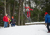 Michael Benenati U10 from Andover Outing Club takes off from the K20 jump during Gunstock Nordic Associations Ski Jump Meet  on Saturday morning.  (Karen Bobotas/for the Laconia Daily Sun)