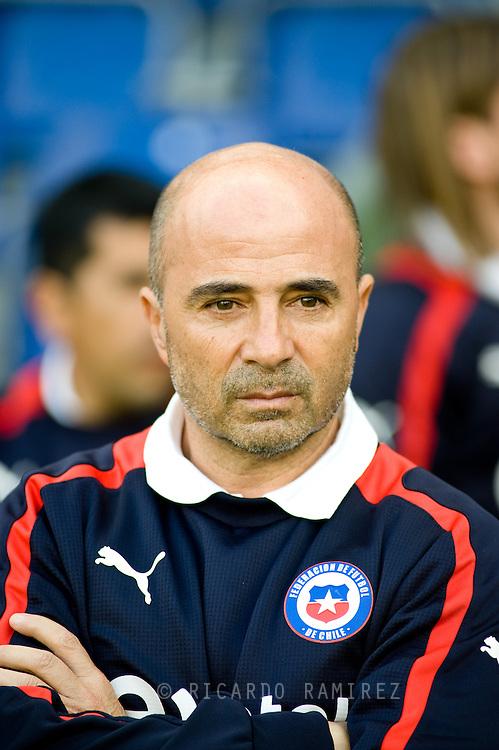 14.09.13. Brondby, Denmark.Chile coach Jorge Sampaoli during the international friendly against Irak at the Brondby Stadium in Denmark.Photo: © Ricardo Ramirez