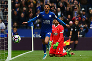 Riyad Mahrez of Leicester city celebrates after he scores his teams 2nd goal  to put his side 2-0 up. Premier league match, Leicester City v Watford at the King Power Stadium in Leicester, Leicestershire on Saturday 6th May 2017.<br /> pic by Bradley Collyer, Andrew Orchard sports photography.