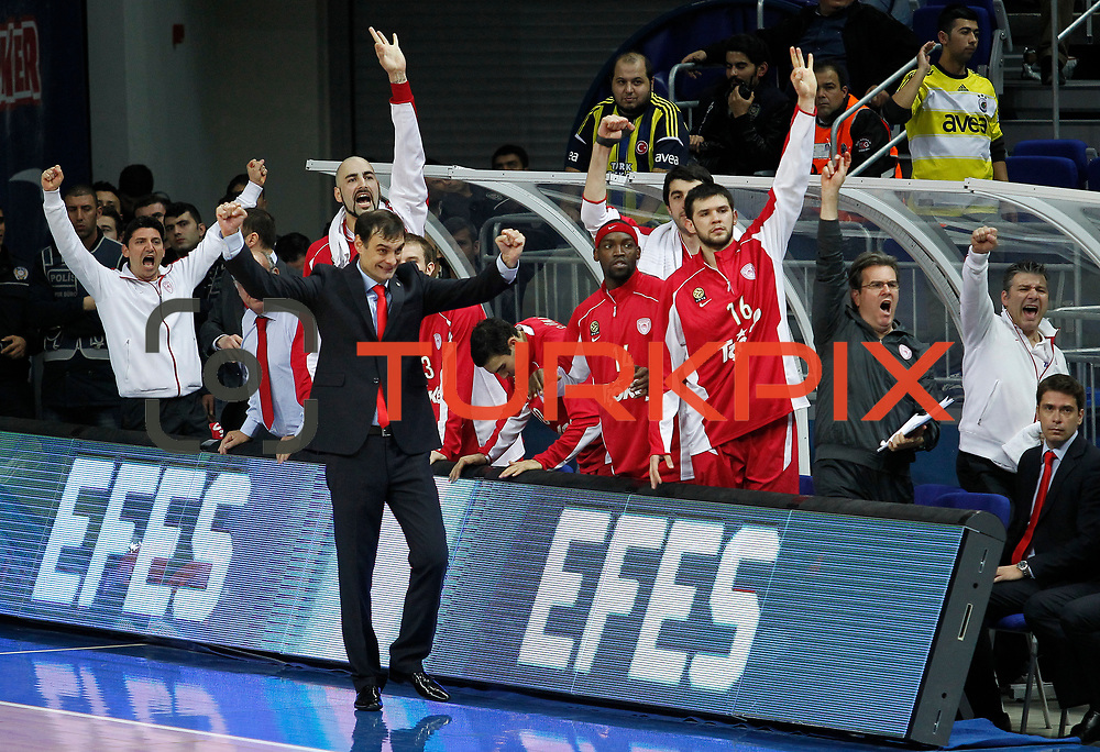 Olympiacos's coach Giorgos Bartzokas (F) during their Euroleague Basketball Top 16 Game 13 match Fenerbahce Ulker between Olympiacos at Fenerbahce Ulker Sports Aren in Istanbul, Turkey, Thursday, March 29, 2013. Photo by TURKPIX
