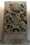 The attack of Mara 'Death, ' Mara is the personification of death and temptation. The Amaravati School (1st century B.C - 3rd century A.D)  marmoreal limestone sculpture from Andhra Pradesh, India