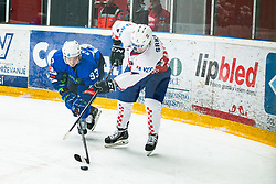 KALAN Luka (SLO) vs SRKETIC Fran (CRO) during OI pre-qualifications of Group G between Slovenia men's national ice hockey team and Croatia men's national ice hockey team, on February 7, 2020 in Ice Arena Podmezakla, Jesenice, Slovenia. Photo by Peter Podobnik / Sportida