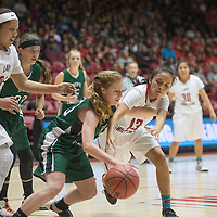 Shiprock Chieftain Paige Dale (13) attempts to steal possession of the ball from Hope Christian Husky Christine Heisey (23) at the State 4a championship game in Albuquerque Friday.