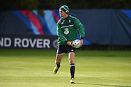 Jonathan Sexton of Ireland during the Ireland rugby team training at Newport High School in Newport , South Wales on Friday 9th October 2015.the team are preparing for their next RWC match against France this Sunday.<br /> pic by  Andrew Orchard, Andrew Orchard sports photography.