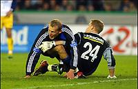 Fotball<br /> Belgia 2003/2004<br /> 18.10.2003<br /> Brugge / Brügge v Westerlo<br /> Foto: Digitalsport<br /> Norway Only<br /> <br /> RUNE LANGE satte to baller forbi JONATHAN BOURDON