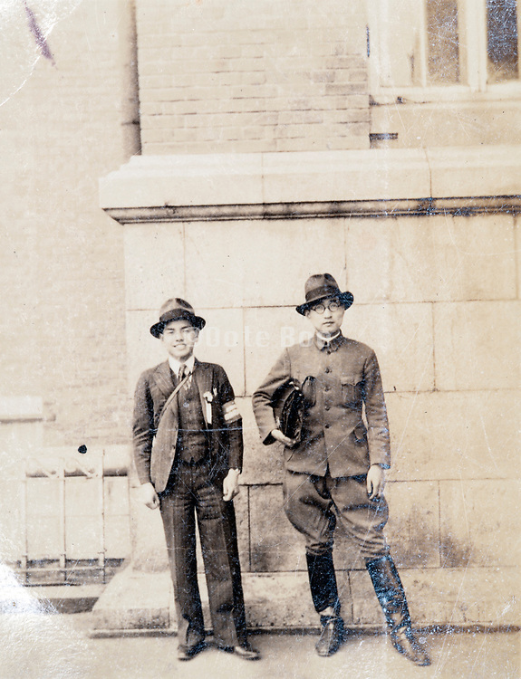 two men together Japan ca 1940s