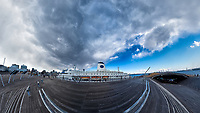 Distorted panorama view of the MV World Odyssey Docked  at the Osanbashi Pier in Yokohama, Japan. Composite of 9 images taken with a  Fuji X-T1 camera and 35 mm f/1.4 lens (ISO 200, 35 mm, f/11, 1/250 sec) using a 360° Mindarin Astro rotating tripod head. Raw images processed with Capture One Pro and the Little Planet view created using AutoPano Giga Pro.
