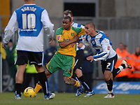 Photo: Ashley Pickering.<br />Norwich City v Sheffield Wednesday. Coca Cola Championship. 09/12/2006.<br />Sheffield's Marcus Tudgay (R) and Norwich's Jurgen Colins