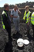 Dorset Wildlife Trust staff and volunteers rescuing reptiles from the heath fire. Upton Heath, Dorset, UK.