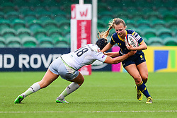 Jaz Clarke of Worcester Valkyries is tackled by Sam Martinez Gion of Saracens Ladies  - Mandatory by-line: Craig Thomas/JMP - 30/09/2017 - RUGBY - Sixways Stadium - Worcester, England - Worcester Valkyries v Saracens Women - Tyrrells Premier 15s