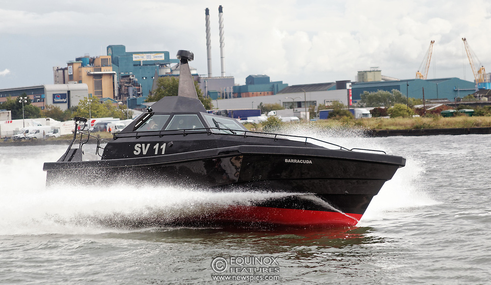 London, United Kingdom - 18 September 2015<br /> Safehaven Marine demonstrate their SV11 Barracuda stealth boat with front mounted retractable gun and radar avoidance technology at Operation MARICAP waterborne demonstration at the defence and security exhibition DSEI at ExCeL, Woolwich, London, England, UK.<br /> (photo by: EQUINOXFEATURES.COM)<br /> <br /> Picture Data:<br /> Photographer: Equinox Features<br /> Copyright: ©2015 Equinox Licensing Ltd. +448700 780000<br /> Contact: Equinox Features<br /> Date Taken: 20150918<br /> Time Taken: 14333220<br /> www.newspics.com