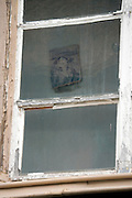 little portrait painting seen through a neglected windowpane