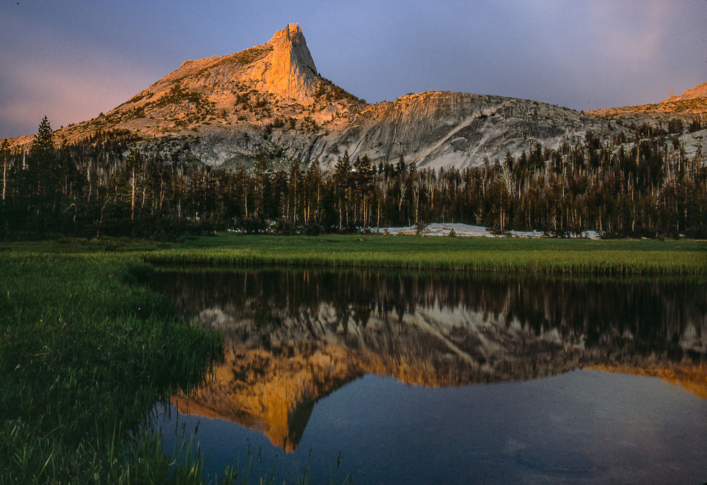 Cathedral Oeak and Lake, evening light, Yosemite National Park, California, USA