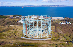 Aerial view of old gasometer at former gasworks in Granton, Edinburgh, Scotland, UK