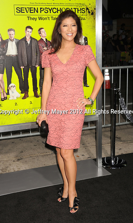 WESTWOOD, CA - OCTOBER 01: Julie Chen arrives at the Los Angeles premiere of 'Seven Psychopaths' at Mann Bruin Theatre on October 1, 2012 in Westwood, California.