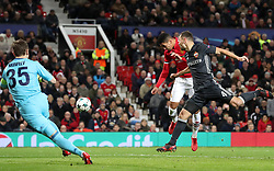 Manchester United's Chris Smalling misses a chance to score during the UEFA Champions League match at Old Trafford, Manchester.