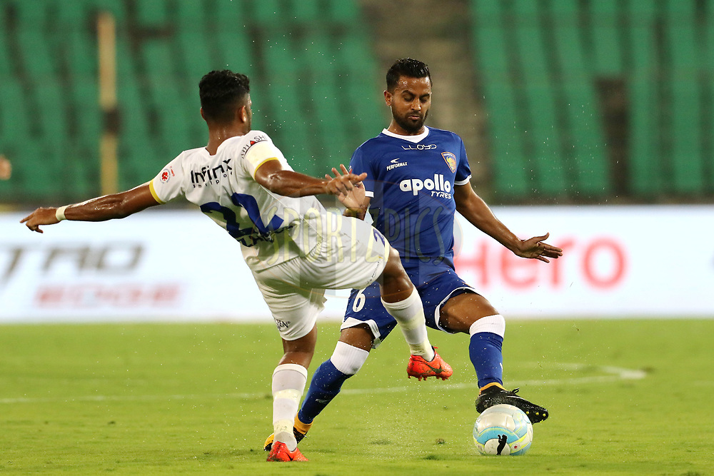 Zakeer Mundampara of Mumbai City FC and Bikramjit Singh of Chennaiyin FC in action during match 88 of the Hero Indian Super League between Chennaiyin FC and Mumbai City FC held at the Jawaharlal Nehru Stadium, Chennai India on the 3rd March 2018<br /> <br /> Photo by: Vipin Pawar  / ISL / SPORTZPICS