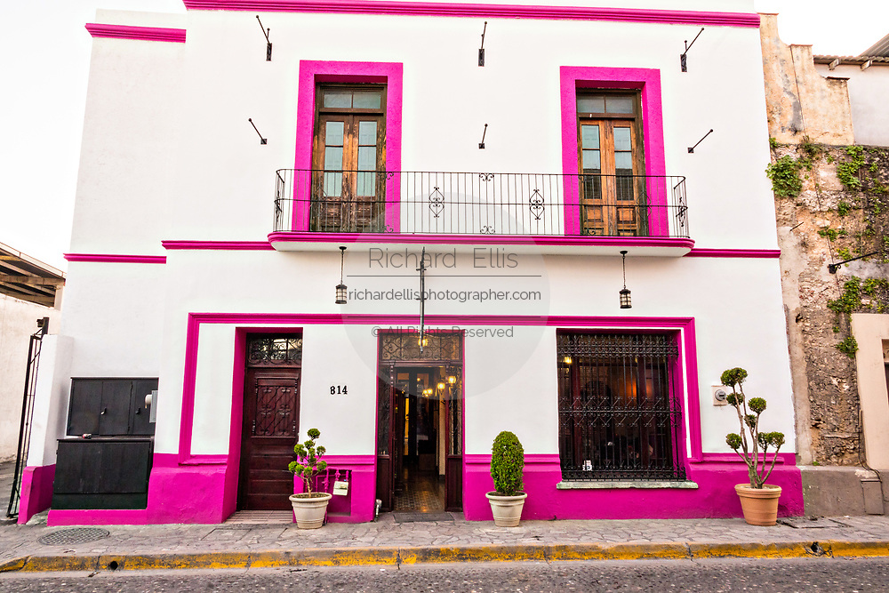 The Oaxaca Restaurant in a Spanish colonial style building in the Barrio Antiguo or Spanish Quarter neighborhood adjacent to the Macroplaza Grand Plaza in Monterrey, Nuevo Leon, Mexico.