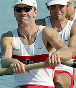 St Catherines, CANADA,  Men's Lightweight Four, .CAN LM 4-. Jon BEARE , Iain BRAMBELL , Chris DAVIDSON , Gavin HASSETT, competing at the 1999 World Rowing Championships - Martindale Pond, Ontario. 08.1999..[Mandatory Credit; Peter Spurrier/Intersport-images]  .. 1999 FISA. World Rowing Championships, St Catherines, CANADA