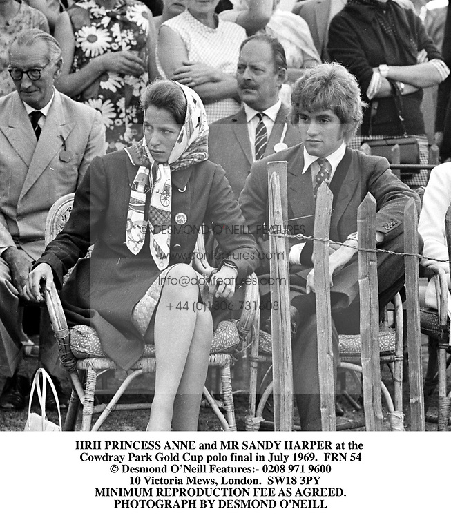 HRH PRINCESS ANNE and MR SANDY HARPER at the <br /> Cowdray Park Gold Cup polo final in July 1969.  FRN 54